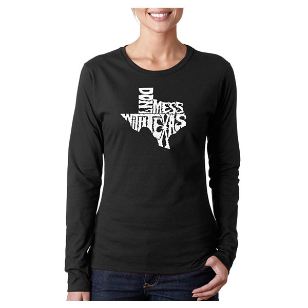 Los Angeles Pop Art Dont Mess With Texas Long Sleeve Graphic T-Shirt