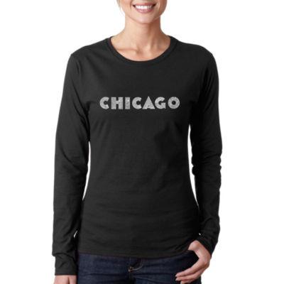Los Angeles Pop Art Chicago Neighborhoods Women'sLong Sleeve Word Art Graphic T-Shirt
