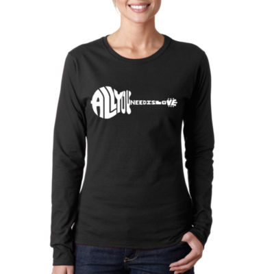 Los Angeles Pop Art All You Need Is Love Long Sleeve Graphic T-Shirt