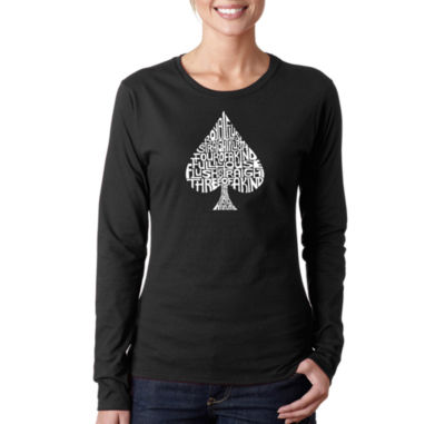 Los Angeles Pop Art Order Of Winning Poker Hands Womens Long Sleeve Graphic T-Shirt