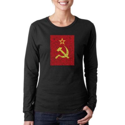 Los Angeles Pop Art Lyrics To The Soviet National Anthem Long Sleeve Graphic T-Shirt