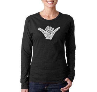 Los Angeles Pop Art Top Worldwide Surfing Spots Long Sleeve Graphic T-Shirt