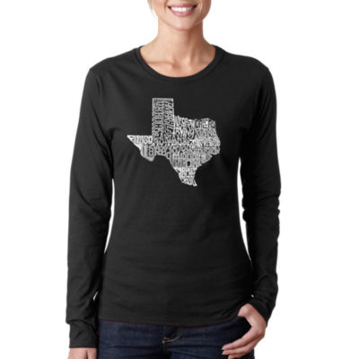 Los Angeles Pop Art The Great State Of Texas Long Sleeve Graphic T-Shirt