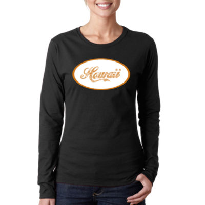 Los Angeles Pop Art Hawaiian Island Names & Imagery Long Sleeve Graphic T-Shirt