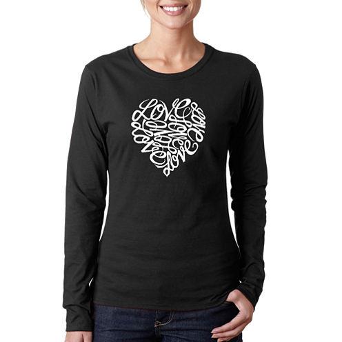 Los Angeles Pop Art Love Long Sleeve Graphic T-Shirt