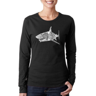 Los Angeles Pop Art Species Of Shark Women's LongSleeve Word Art Graphic T-Shirt