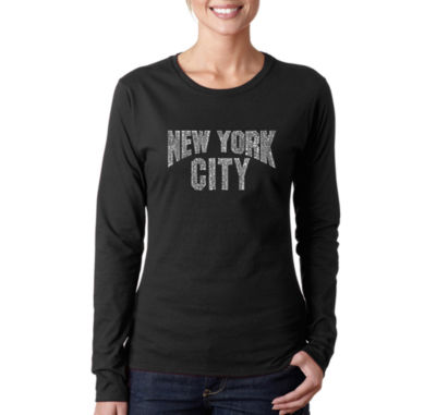 Los Angeles Pop Art Nyc Neighborhoods Long Sleeve Graphic T-Shirt