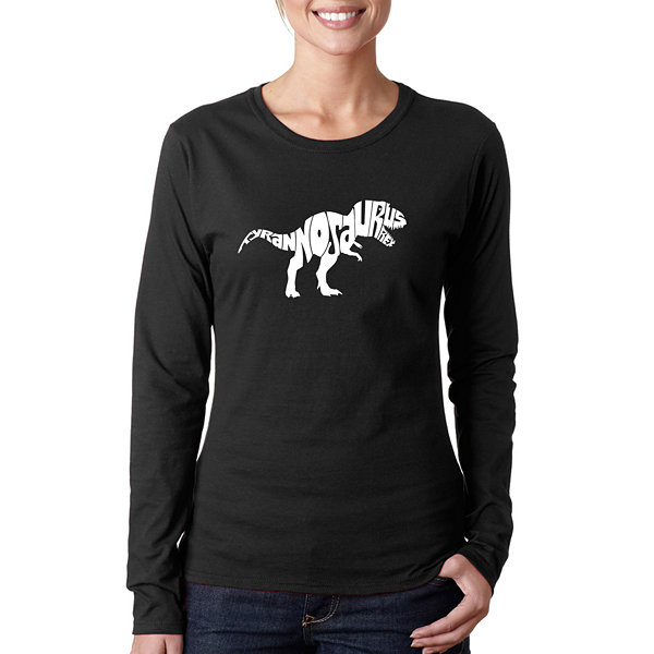 Los Angeles Pop Art Tyrannosaurus Rex Women's LongSleeve Word Art Graphic T-Shirt