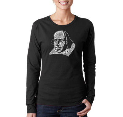 Los Angeles Pop Art The Titles Of All Of William Shakespeare's Comedies & Tragedies Women's Long Sleeve Word Art Graphic T-Shirt