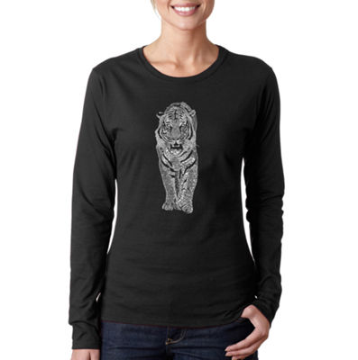 Los Angeles Pop Art Tiger Long Sleeve Graphic T-Shirt