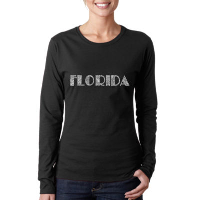 Los Angeles Pop Art Popular Cities In Florida Long Sleeve Graphic T-Shirt