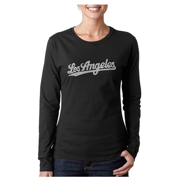 Los Angeles Pop Art Los Angeles Neighborhoods Women's Long Sleeve Word Art Graphic T-Shirt