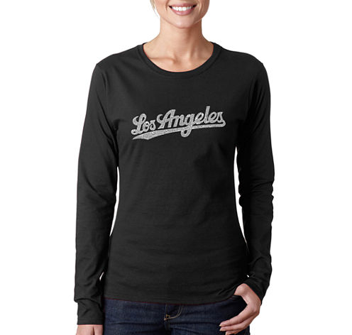 Los Angeles Pop Art Los Angeles Neighborhoods Long Sleeve Graphic T-Shirt