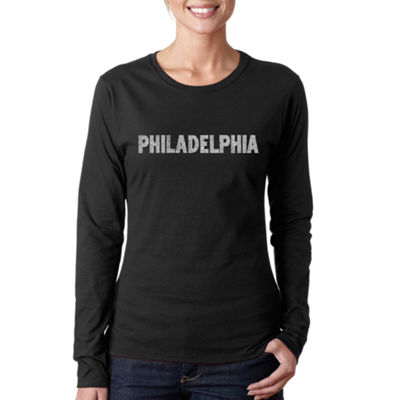 Los Angeles Pop Art Philadelphia Neighborhoods Long Sleeve Graphic T-Shirt