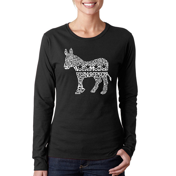 Los Angeles Pop Art I Vote Democrat Long Sleeve Graphic T-Shirt