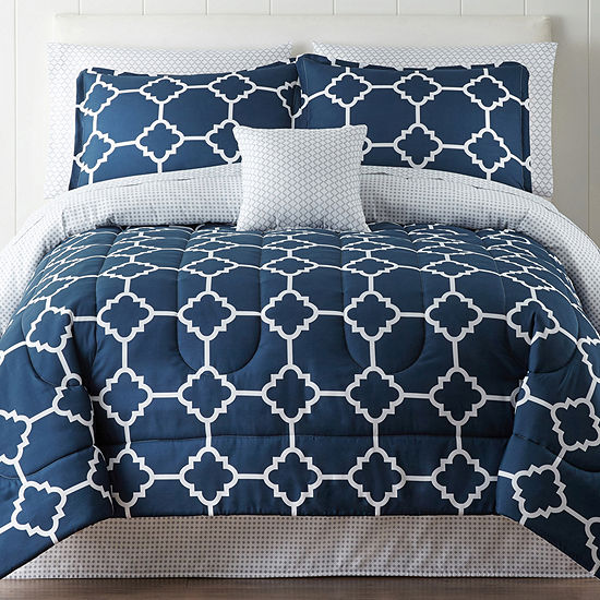 home expressions tiles navy complete bedding set with sheets - Navy Bedding