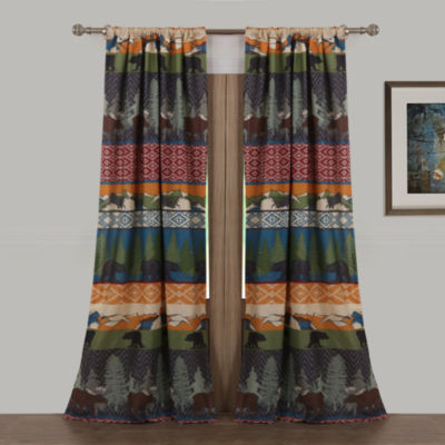 Greenland Home Fashions Black Bear Lodge Rod-Pocket Curtain Panel