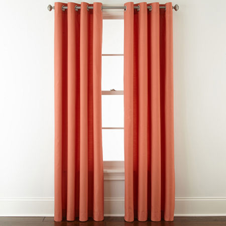 JCPenney Home Verona Light-Filtering Grommet-Top Single Curtain Panel, One Size , Orange
