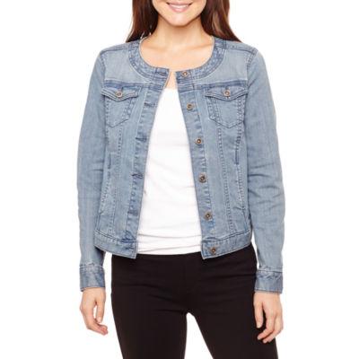 Liz Claiborne Collarless Denim Jacket-Petite