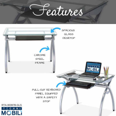 RTA Products Techni Mobili Contempo Clear Glass Top Computer Desk with Pull Out Keyboard Panel