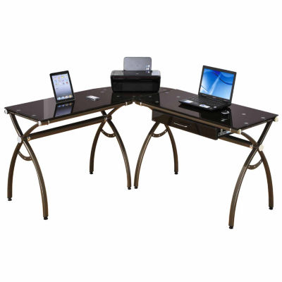 RTA Products LLC Techni Mobilil-Shaped Brown Tempered Glass Top Corner Desk with Drawer
