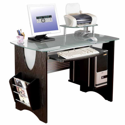 RTA Products LLC Techni Mobili Stylish Frosted Glass Top Computer Desk With  Storage   JCPenney