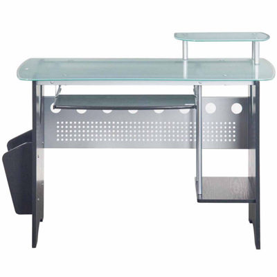 RTA Products LLC Techni Mobili Stylish Frosted Glass Top Computer Desk with Storage