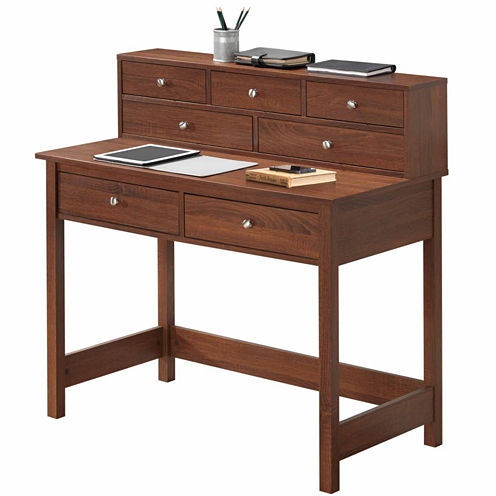 RTA Products LLC Techni Mobili Elegant Writing Desk with Storage and Hutch