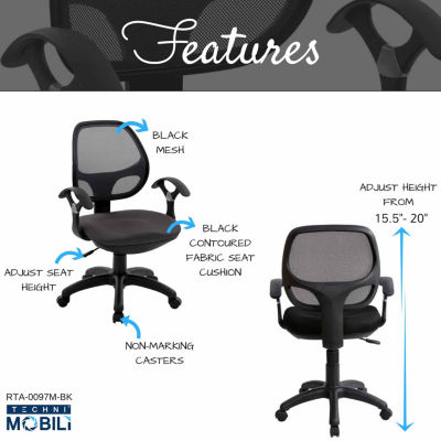 RTA Products LLC Techni Mobili Midback Mesh Task Office Chair