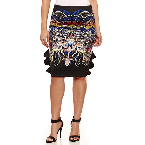 Bisou Bisou Ruffle Side Pencil Skirts