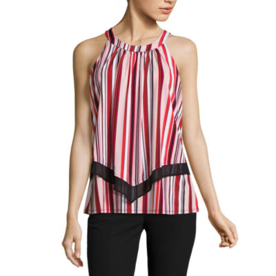 Worthington Sleeveless Crew Neck Stripe T-Shirt-Womens