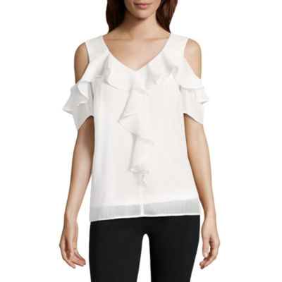 Alyx Ruffle Cold Shoulder Top