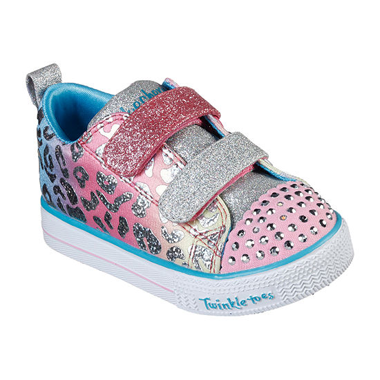 Skechers Twinkle Toes Shuffle Lite Toddler Girls Hook and Loop Sneakers