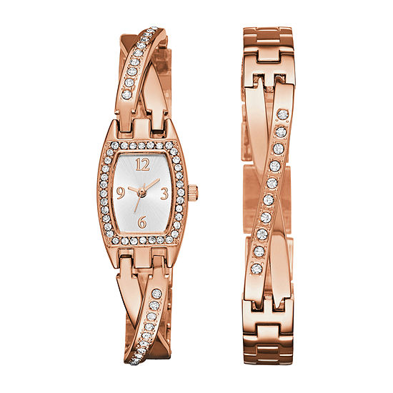 Geneva Womens Rose Gold-Tone Bangle Watch Boxed Set
