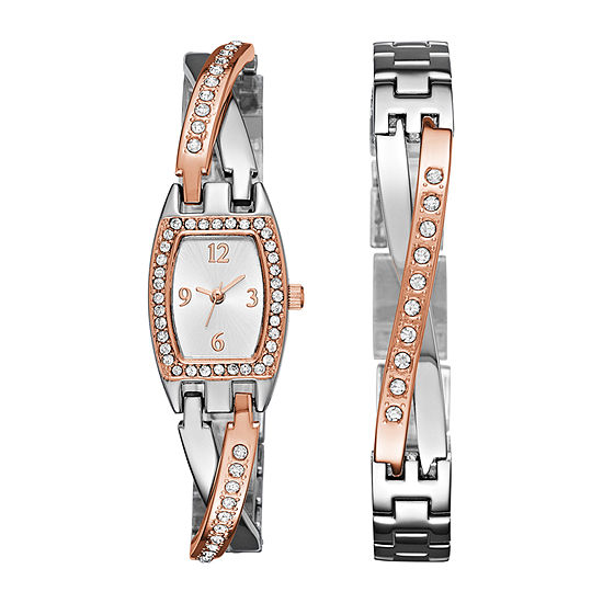 Geneva Womens Rose Gold and Silver-Tone Bangle Watch Boxed Set