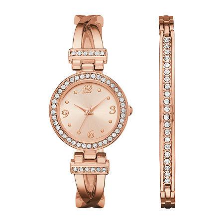 Geneva Womens Rose Gold-Tone T-Bar Bangle Watch Boxed Set