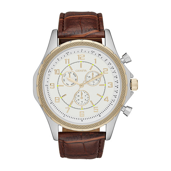 Geneva Mens Champagne Dial Brown Strap Watch