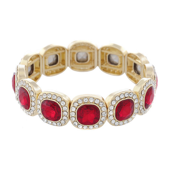 Monet Jewelry Simulated Red Square Stretch Bracelet