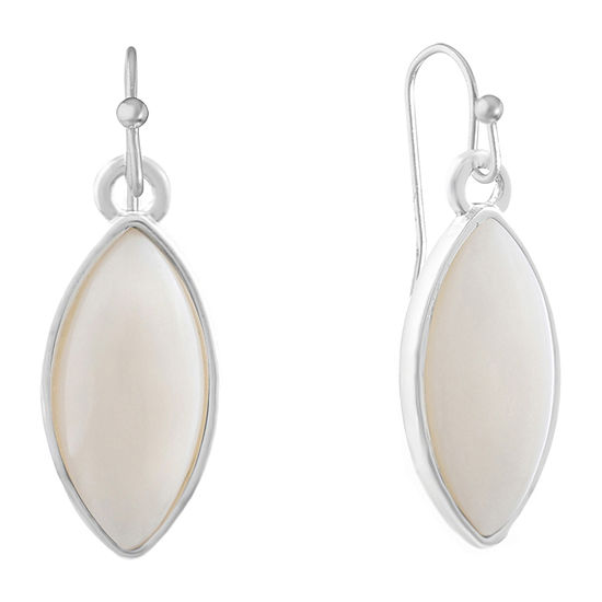 Liz Claiborne Simulated White Drop Earrings