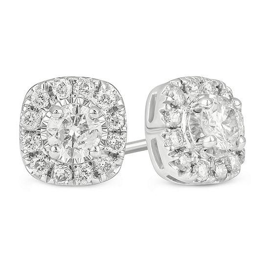 1/2 CT. T.W. Genuine White Diamond 10K White Gold 6.9mm Stud Earrings