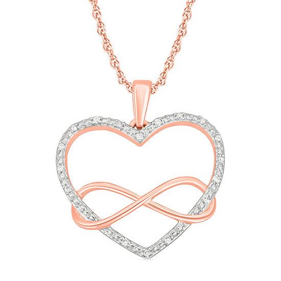 Womens Diamond Accent Genuine White Diamond 10K Rose Gold Heart Pendant Necklace