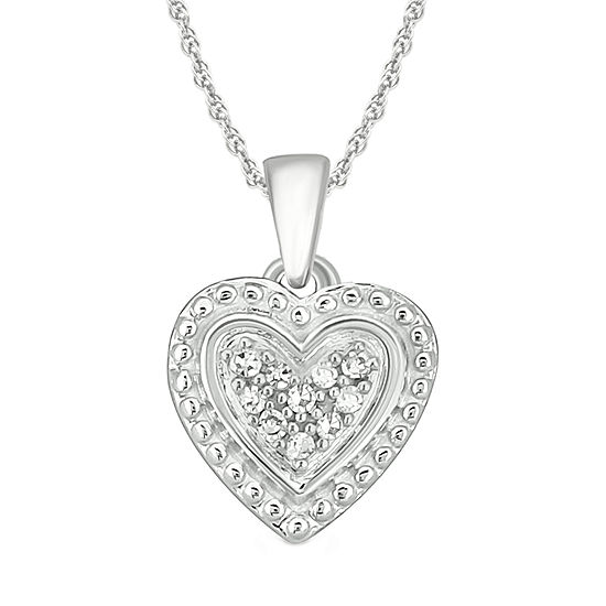 Womens Diamond Accent Genuine White Diamond 10K White Gold Heart Pendant Necklace