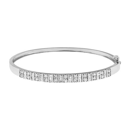 1 CT. T.W. Genuine White Diamond 14K White Gold Bangle Bracelet