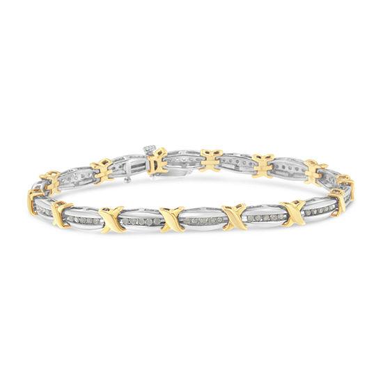 1 CT. T.W. Genuine White Diamond 10K Two Tone Gold 7 Inch Tennis Bracelet