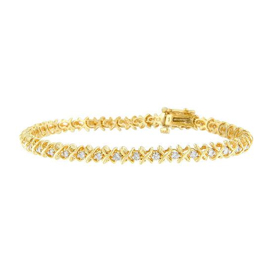 1 Ct Tw Genuine White Diamond 14k Gold 7 Inch Tennis Bracelet