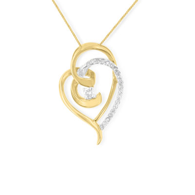 Womens 1/5 CT. T.W. Genuine White Diamond 10K Two Tone Gold Heart Pendant Necklace