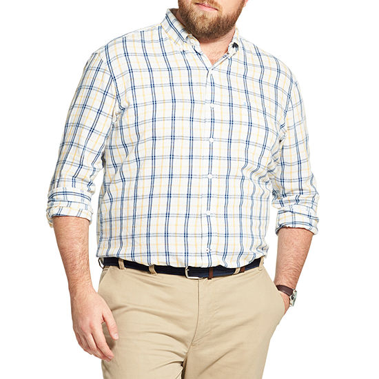 IZOD Big and Tall Plaid Button-Down Shirt