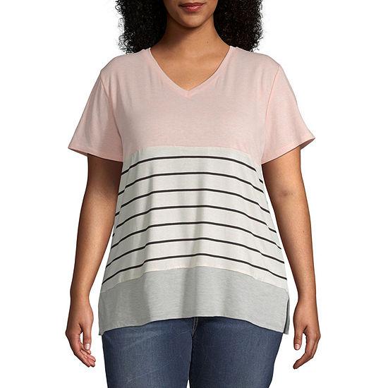 a.n.a Plus-Womens V Neck Short Sleeve T-Shirt
