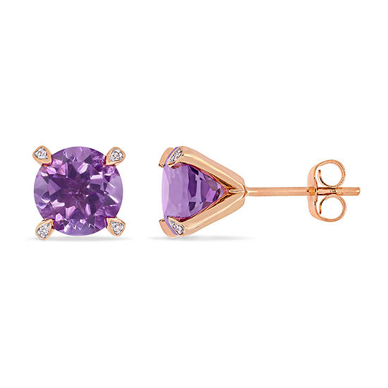 Diamond Accent Genuine Purple Amethyst 10K Rose Gold 8.5mm Stud Earrings
