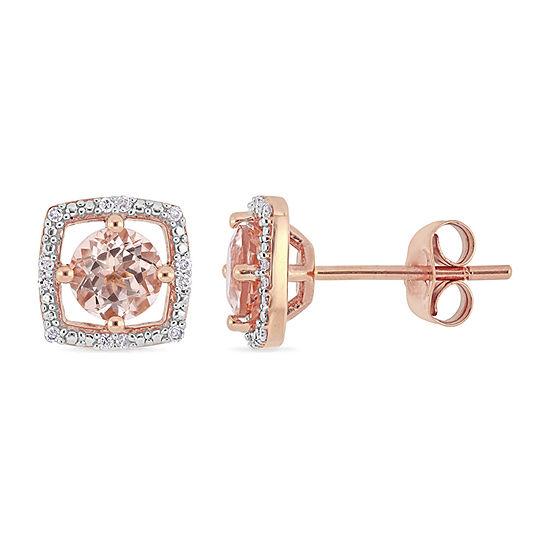 Diamond Accent Genuine Pink Morganite 10K Rose Gold 8.3mm Stud Earrings